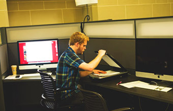 A student using a scanner